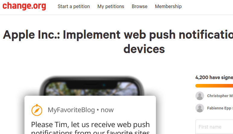 Change.org, Apple, Web Push: you can make a (minor) difference