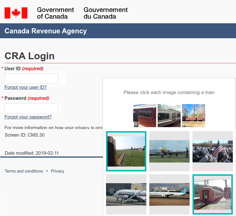 CRA adds Captcha: with flags of the world?