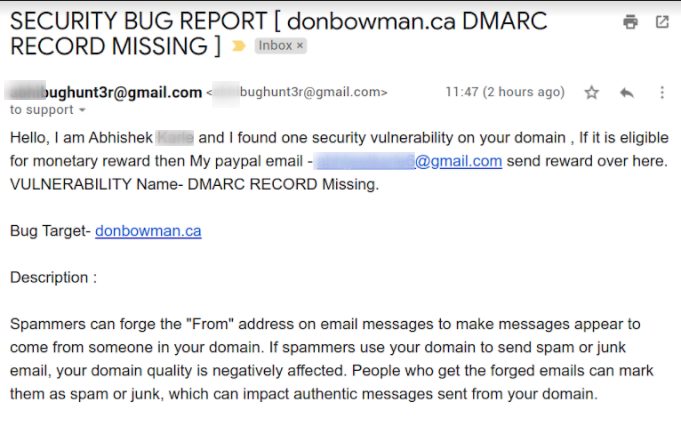 DMARC email security and bug hunt